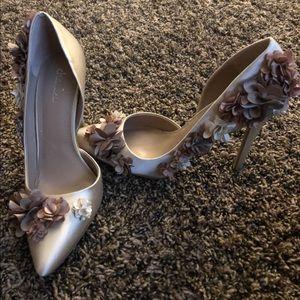 Charles David Satin Fabric Floral Heels